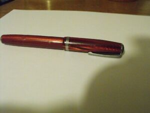 Vintage Easterbrook Fountain Pen, Marble Burgundy, Works Well, Intact Bladder
