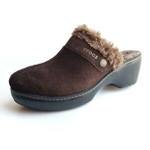 Crocs Women's sz 8 Mule Style Clogs Brown Suede Faux Fur Lined Slip-Ons Shoes