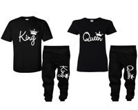 King Queen Matching Shirt and King Queen Couple Joggers (Sold Separately)