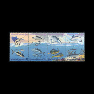 MARSHALL IS, Sc #595a-h, MNH, 1995, Blk of 8, Marine life, fish, FFDDAS7Z-9