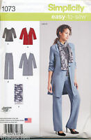 SIMPLICITY SEWING PATTERN 1073 MISSES 6-14 EASY TOP, UNLINED COAT/JACKET & PANTS