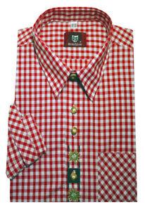 Orbis Trachten Hemd rot weiß kariert +Stickerei Krempelarm OS-0103 Regular Fit