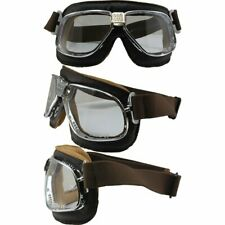 Nannini Rider Motorcycle Goggle HandSewn Brown Leather Frame Clear Anti-Fog Lens
