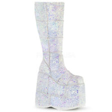"STACK-301G 7"" UNISEX GOTH PUNK 70s ROCK GLITTER WEDGE  KNEE HIGH PLATFORM  BOOT"