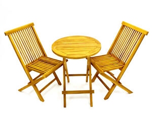 NEW Teak Wooden Garden Furniture Sets, 2 Chairs and 1 round Table Balcony sets