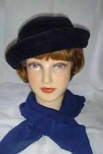 Damen Hut, dkl.blau, Velour, Gr. 56, ca. 40er Jahre,