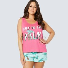 "ALL SIZES Ladies Pyjama Set ""Talk to The Palm"" (Tree) 100% Cotton PJ Vest Shorts"