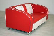 Sofabank Belvedere Einzelsofa Polstersofa American Diner 50er Jahre Rot Weiß