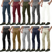 New Mens Chino Slim Fit Trousers Stretchy Stallion Cotton Regular Casual Pants