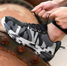 Men Camouflage Steel Toe Safety Work Shoes Mesh Sneakers Hiking Camo US9.5 Ske15