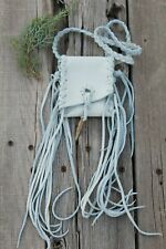 White leather necklace bag , White fringed medicine bag