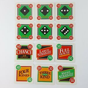 Showdown Yahtzee Cards Full Set Replacement Game Parts 4202