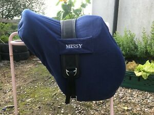 NAVY BLUE Embroidered PERSONALISED Fleece SADDLE COVER With GIRTH HOLDER LOOPS