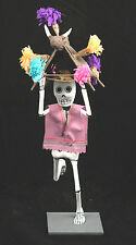Festive Lilac Skeleton Paper Mache Mexican Artist Signed Handmade/Painted Mexico