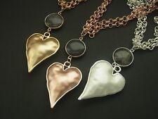 Kette Halskette Lange Kette Matt mit Anhänger Herz & Liebe Design Perle