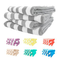 Cabana Beach Towel 4 Packs - 30 x 70 Extra Large Striped Cotton Bath Towels