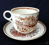 Antique W&H Pottery Oversized Cup & Saucer Mandarin Pattern | FREE Delivery UK*