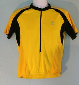 Yellow Cannondale Men's Large Cycling Jersey Pockets Zip Wicking *