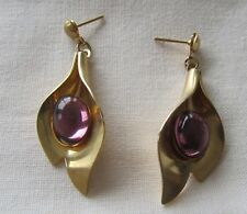Vintage flower pin earrings with purple lucite