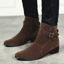 Men's Ankle Boots Block Low Heel High Top Buckle Suede Round Toe Casual Shoes