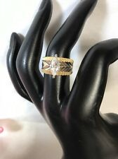 Ring Size 7 Gold Indented Band With Simulated Diamond Rg 3+