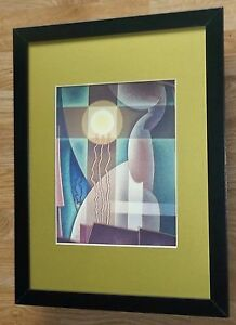 Art Deco framed print - Abstraction in Yellow -12''x16'', Art Deco wall art