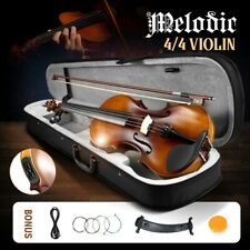 Melodic 4/4 Electric Violin Full-size with Carrying Case Rosin Strings Nature