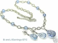 Blue Crystal-Shaped Glass Beaded NecklaceEarring Set