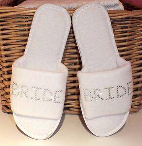Bride Slippers white diamante Personalised gem WEDDING BRIDE Bridesmaid silver