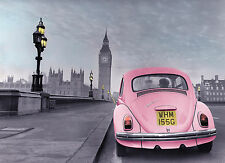 Photographic poster of old style VW beetle/Westminster