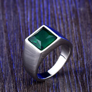 Square Green Zircon Wedding Ring Stainless Steel Men Women Polished Silver Ring