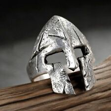 Vintage Mens Gladiator Warrior Helmet Spartan Resizable Ring Antique Silver New