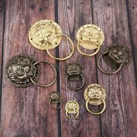 Antique Brass Drawer Cupboard Handle Lion Head Drop Ring Pull Knob Vintage Style
