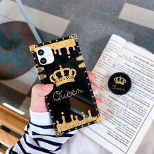 For Samsung S21 S20 FE S10 S9 Note20 10 9 Luxury Fashion Crown Square Case Cover