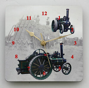 Square Wall Clock of a Steam Traction Engine Size 19cm by 19cm