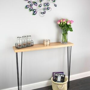 Solid Oak Narrow Rustic Console Table with Hairpin Legs