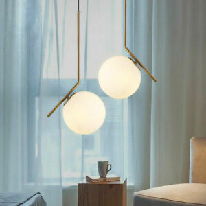 Nordic Style Single White Glass Globe LED Brass Cable Ceiling Pendant Lights Art