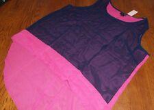 Pat Rego 2X Cute Pink & Navy Blue Chiffon Sleeveless Blouse Top Maternity