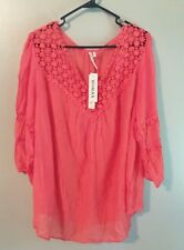 New Women's Grand & Greene Size 2X Blouse Coral Crochet Sheer Boho Peasant