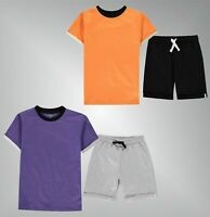 Boys Crafted Casual Striped Crew Cotton T Shirt Shorts Set Sizes Age 7-13 Yrs