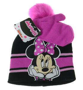 Disney Minnie Mouse Knit Beanie Hat & Mitten Set Pink Black Pom Pom Girls Gift