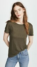 W031 NWT VINCE CREWNECK LINEN WOMEN TEES SIZE XS, S in BAYLEAF $110