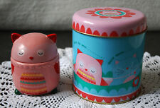 Cat & Owl Colourful Musical Metal Tin & Porcelain Pink Owl Shape Trinket Box