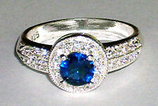 New Gorgeous Round Sapphire Blue with White Topaz 925 Sterling Silver Ring-9