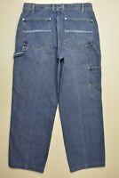 VTG Calvin Klein Size 34 x 30 CARPENTER Work Pants STONE Wash Denim Blue Jeans