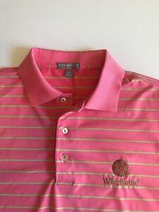 Peter Millar Summer Comfort Mens Medium Pink Striped Whirlwind Golf Polo Shirt