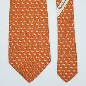 SALVATORE FERRAGAMO TIE Dog & Cat on Orange Classic Silk Necktie