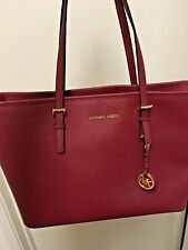 MICHAEL MICHAEL KORS Jet Set Travel Red Saffiano Leather Top Zip Tote NEW
