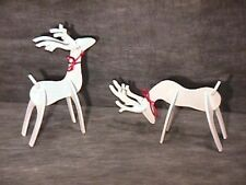 Wooden White Tabletop Reindeer Set of 2 ~ New