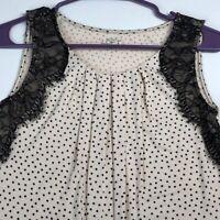 Loft Women's Sleeveless Blouse Top XS Beige Black Polka Dot Lace Pleated Neck